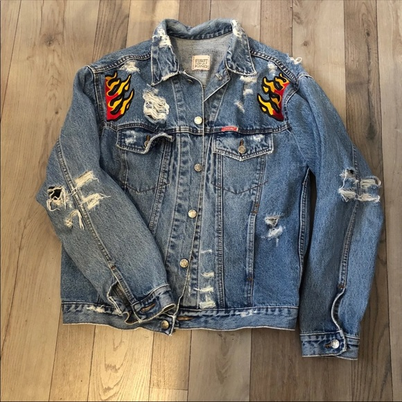 LF Jackets & Blazers - LF Stores Furst of a kind flame distressed jacket